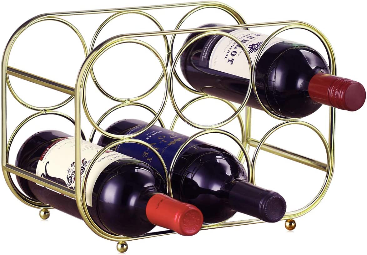 Buruis 6 Bottle Countertop Wine Rack - Wine Holder for Red White Wine Storage - Freestanding Metal Wine Rack - Modern Tabletop Bottle Holder - Gold