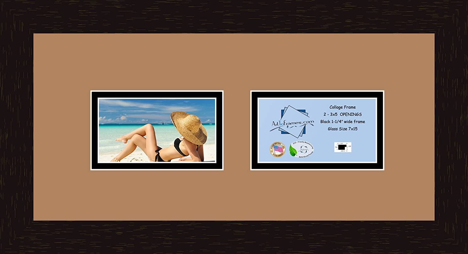 Art to Frames Double-Multimat-246-771/89-FRBW26061 Collage Frame Photo Mat Double Mat with 2 - 3.25x5.25 Openings and Espresso frame
