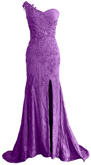 MACloth Women One Shoulder Long Prom Dress Mermaid Lace Formal Evening Gown (UK6, Amethyst