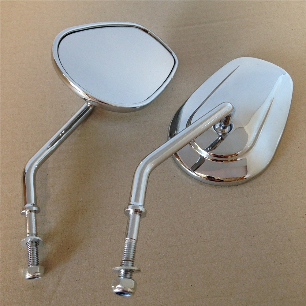 New Chrome Rearview Mirrors For Harley Davidson FLSTC FXDB DYNA FXDF FLSTF 8mm by TTMT HTT