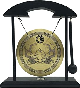 Mose Cafolo Zen Table Gong - Dragon with Taiji Symbols Makes Clear Sound - for Good Feng Shui Meditation Desk Bell Home Decor Housewarming Congratulatory Blessing Gift