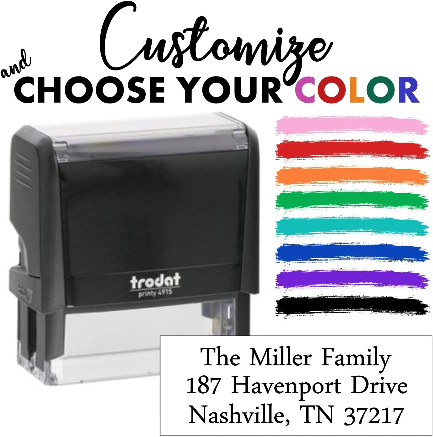Custom Self-Inking Stamp - Choose Your Font - 8 Color Choices - up to 3 Lines