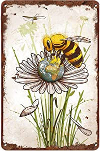 LINQWkk Creative Tin Sign Save The Planet Bee Funny Novelty Metal Sign Retro Wall Decor for Home Gate Garden Bars Restaurants Cafes Office Store Pubs Club Sign Gift 12 X 8 INCH Plaque Tin Sign
