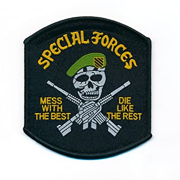 Special Forces Skull Sew-On Badge/Iron-On Patch Rhinestone X 80 X 90