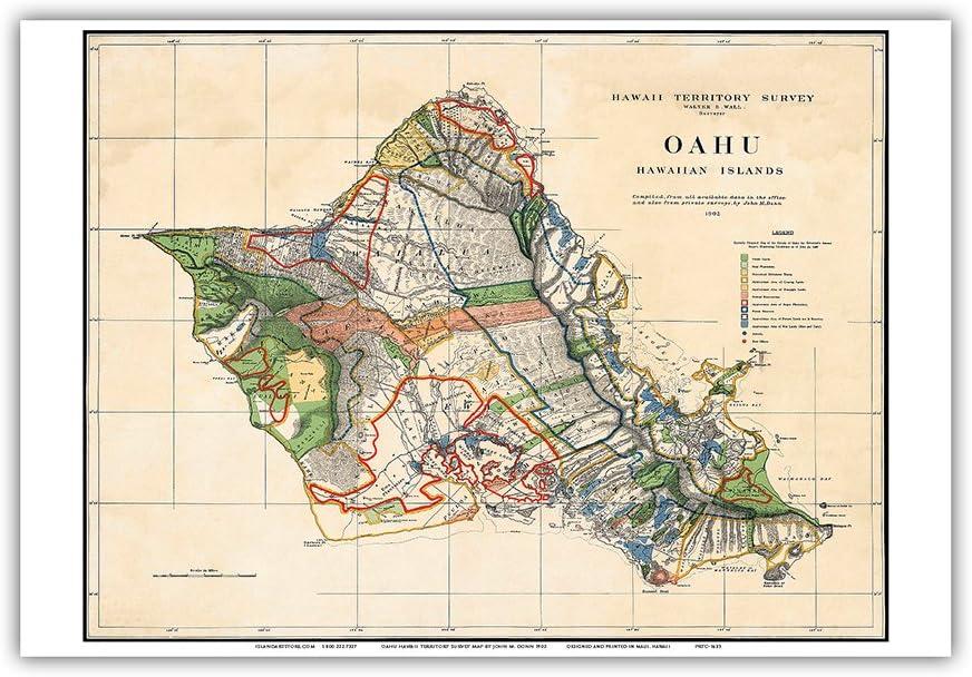 Amazon Com Oahu Hawaiian Islands Hawaii Territory Survey Map Vintage Hawaiian Colored Cartographic Map By John M Donn C 1902 Hawaiian Master Art Print 12 X 18in Posters Prints