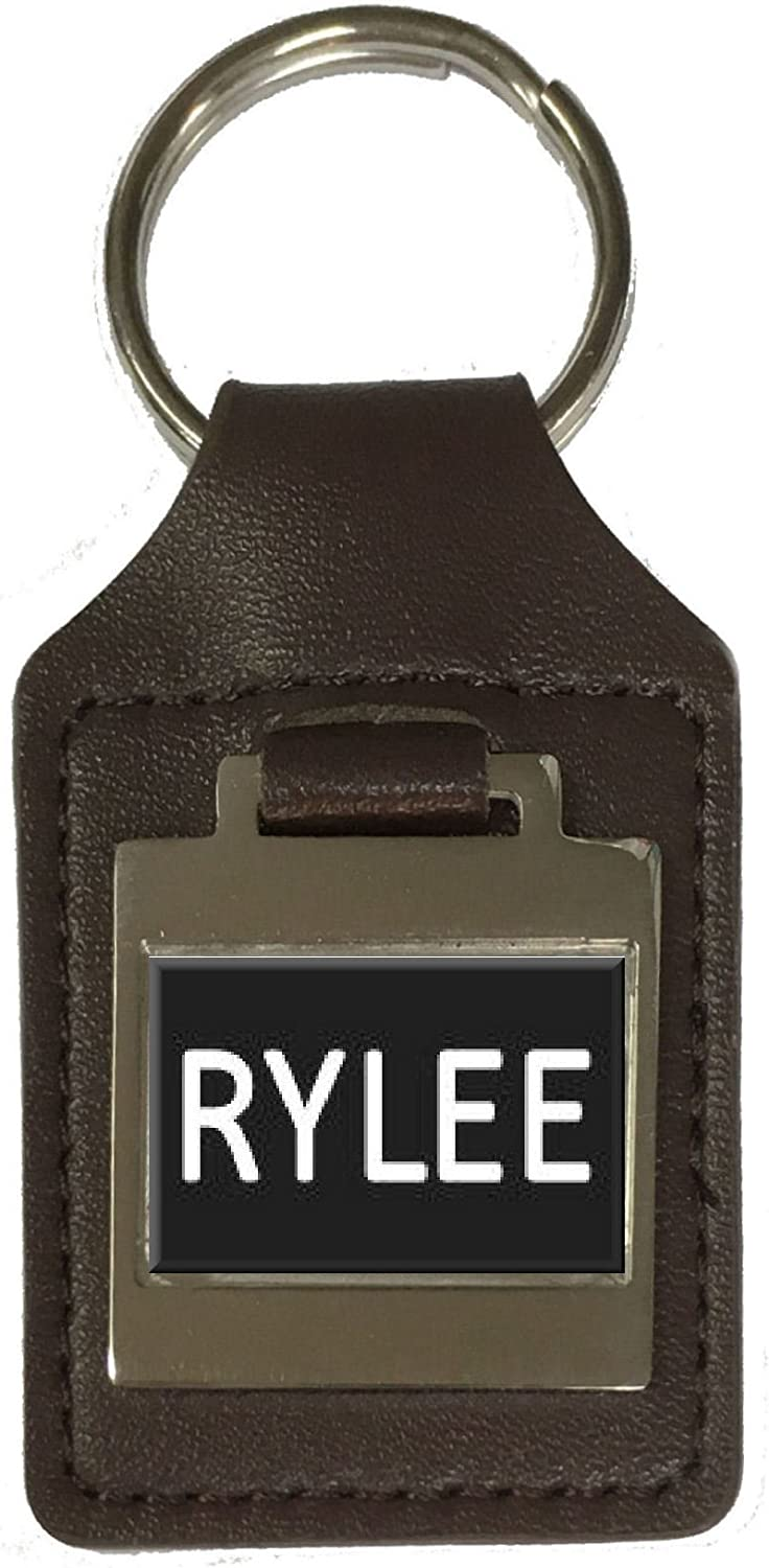 Rylee Leather Keyring Birthday Name Optional Engraving