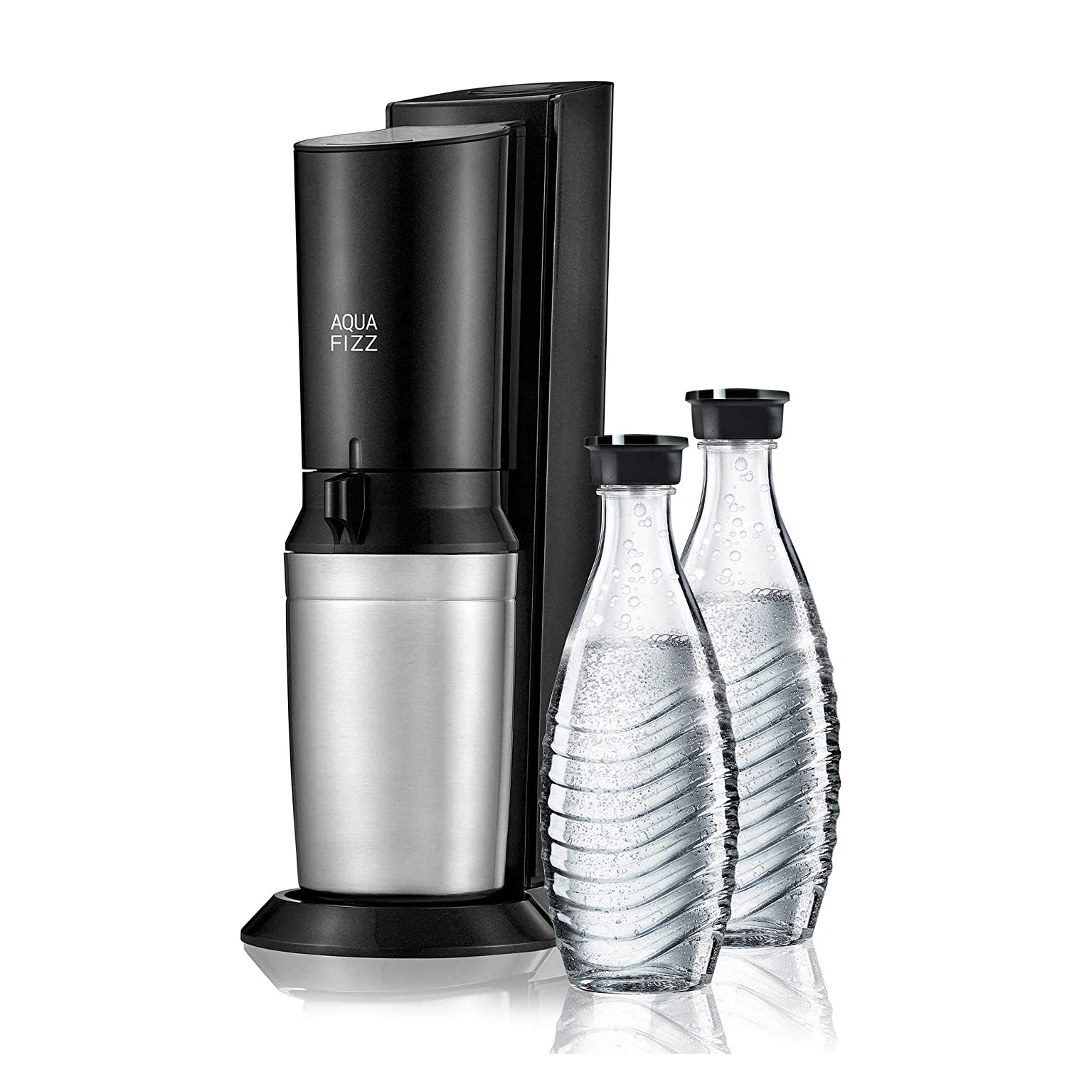 SodaStream Aqua Fizz Sparkling Water Maker Starter Kit with 2 Glass Carafes with Fizz Preserving Caps and 1 60L CO2 Cylinder, Elegant and Stylish Design, Turns Tap into Sparkling Water in Seconds! .Aqua Fizz.