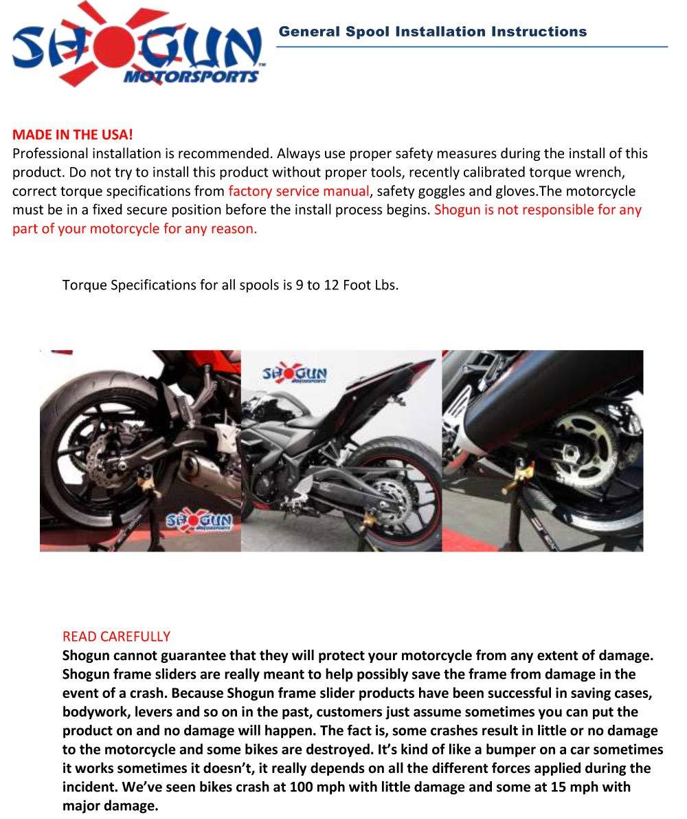 Black Yamaha 2015-17 YZF-R3 Shogun Swingarm Spools