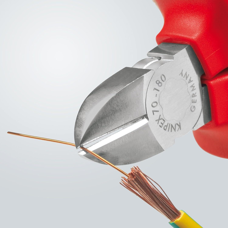180 mm isol/ée et homologu/ée VDE Knipex KP-7006180 Pince coupante de c/ôt/é Coupe jusqu/'/à /Ø 4,0 mm