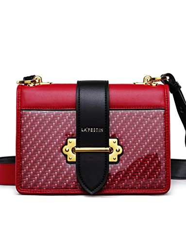 LA FESTIN Women s Cross Shoulder Bags Small Leather Woven Side Purses for  Ladies Red 76079588172a