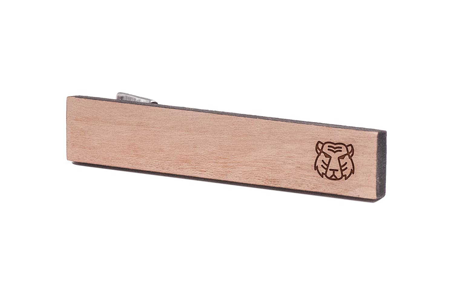 Cherry Wood Tie Bar Engraved in The USA Wooden Accessories Company Wooden Tie Clips with Laser Engraved Tiger Face Design