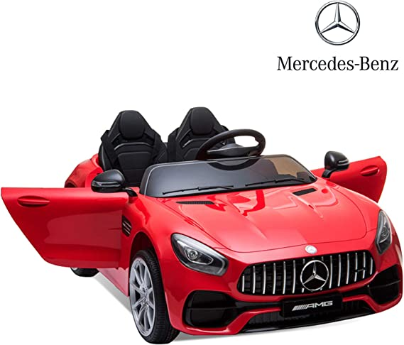 Sinoluck Kids Ride on Car 12V Mercedes Benz GT Kids Electric Car 2 Seater Dual Drive 35W2 Battery Motorized Cars for Kids with Remote Control