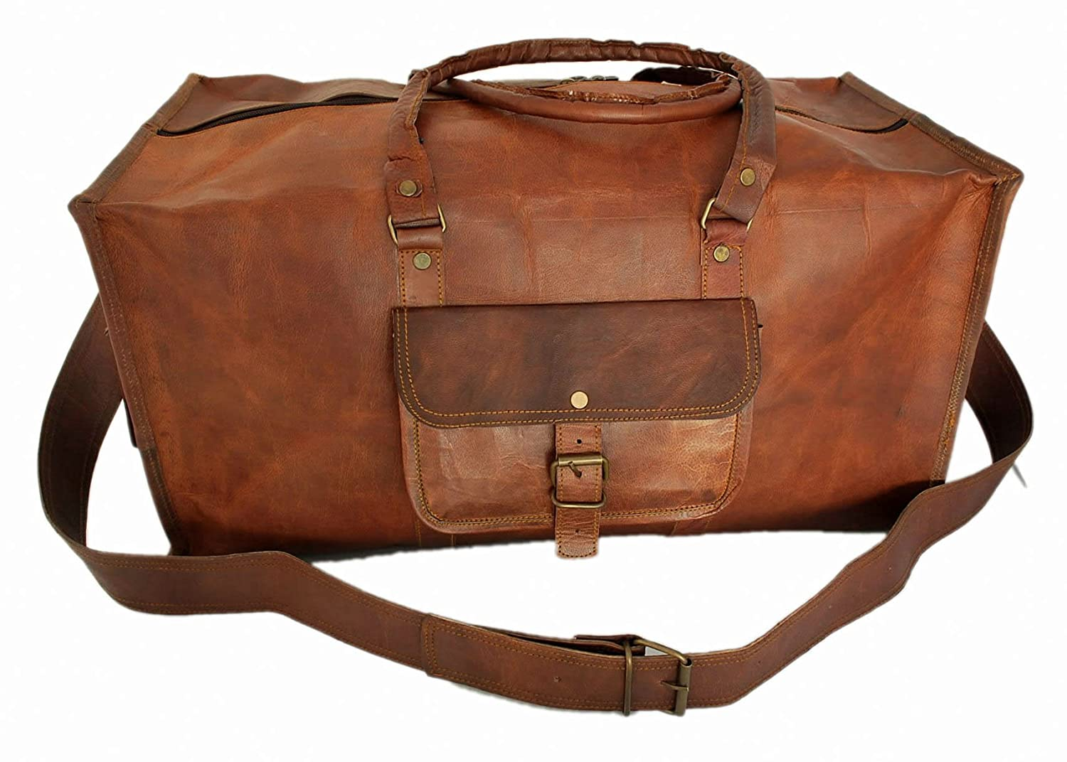 Amazon.com | Handmade Mens Travel Bag Genuine Leather Duffel ...