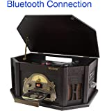 8-in-1 Boytone BT-25BK with Bluetooth Connection Natural wood Classic Turntable Stereo System, Vinyl Record Player, AM/FM, CD, Cassette, USB, SD slot. 2 Built-in Speaker, Remote Control, MP 3 Players