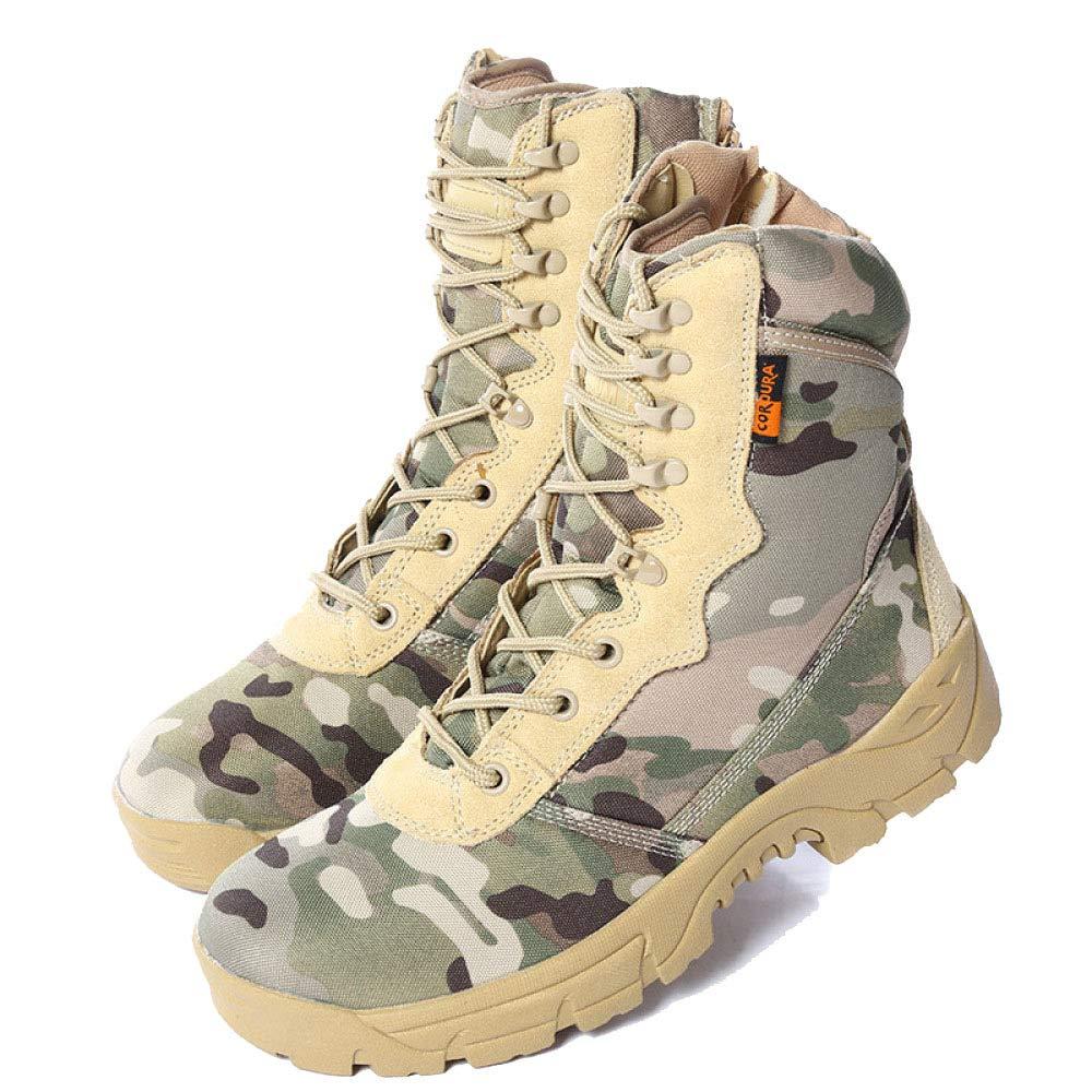 QIKAI Desert-Kampfstiefel Outdoor-Camouflage-Wanderschuhe Hohe Taktische Stiefel Rutschfest Verschleißfest Kampfstiefel