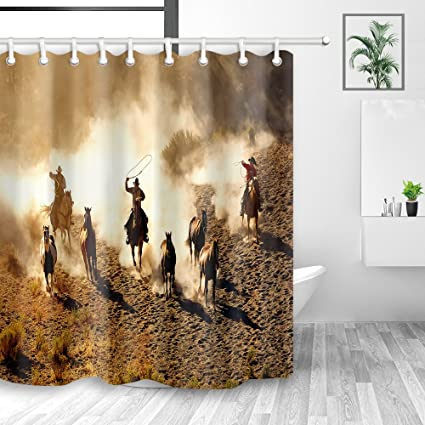 YM HOME American Western Shower Curtains Cowboy Riding Horses Running On Field Mildew Resistant
