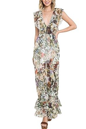 Geegeebae Latiste Womens Floral Print Ruffle Maxi Dress At