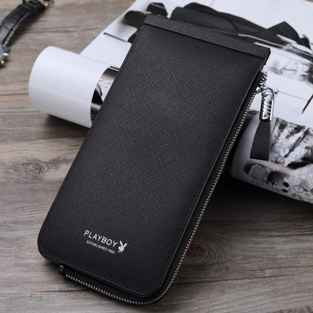 Kalmar RFID Travel Wallet Color Large-Capacity Casual Multi-Card Business Youth Lychee Leather Wallet cm Stealth Mode Blocking Leather Wallet 20.5 2.5 10 Suitable for Mens Long Black Size