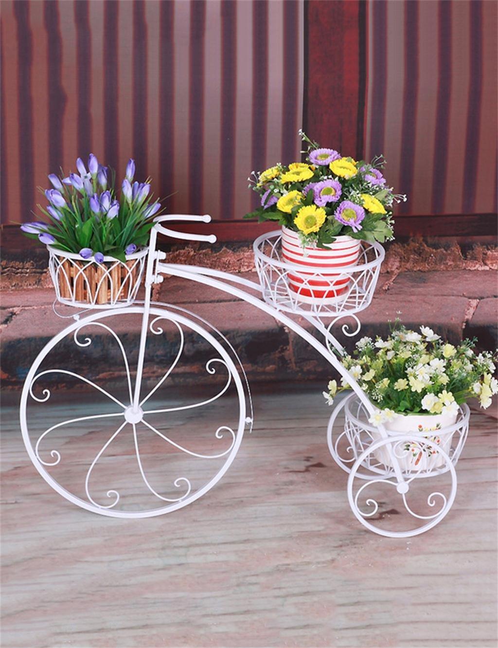 European-Style Garten Eisen Fahrrad-Modell Pflanze Shelf Holds3-Blumentopf Shelf Für Balkon, indoor, outdoor, Flower Racks ( farbe : Weiß )