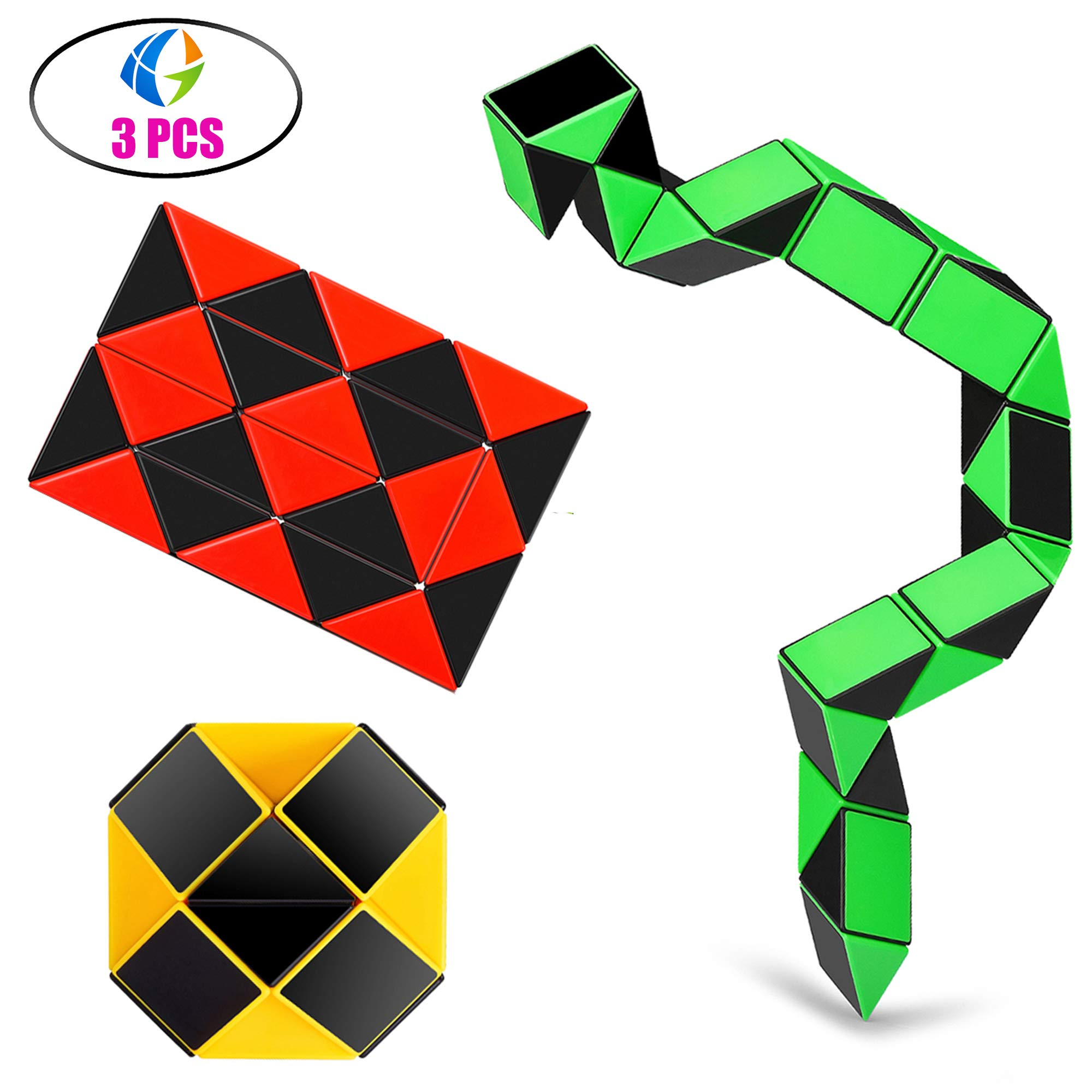 Ganowo Speed Cube Snake Ruler Cube Puzzle Pack | 24 Wedges Twist Puzzle Toys | 3 Magic Snake Cubes Collection in 1 Box | Stickerless Cube Toys