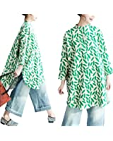 Yesno QP5 Women Button-Down Shirt Blouse Dress 100% Linen 'Leaves' Hi-Low Split Round Hem Mandarin Collar
