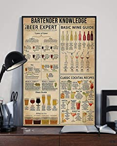 HolyShirts Bartender Knowledge Beer Expert Basic Wine Guide Classic Cocktail Recipes Poster (24 inches x 36 inches)