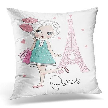 Amazon UPOOS Throw Pillow Cover Pink Paris Girl Love Princess Enchanting Princess Decorative Pillows
