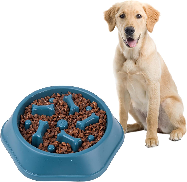 Dog Slow Feeder Bowl No Toxic Non Slip Puzzle Bowl Pet Slower Food Feeding Dishes Puzzle Maze Fun Feeder Interactive Bloat Stop Dog Pet Bowls Blue