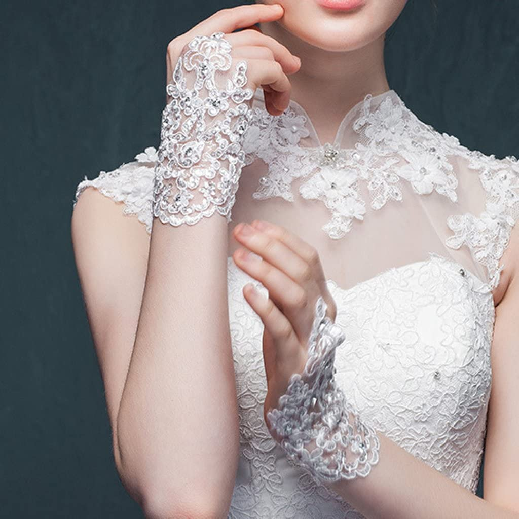 elegant Strasssteine Shefii Damen Finger Hochzeitshandschuhe kurz