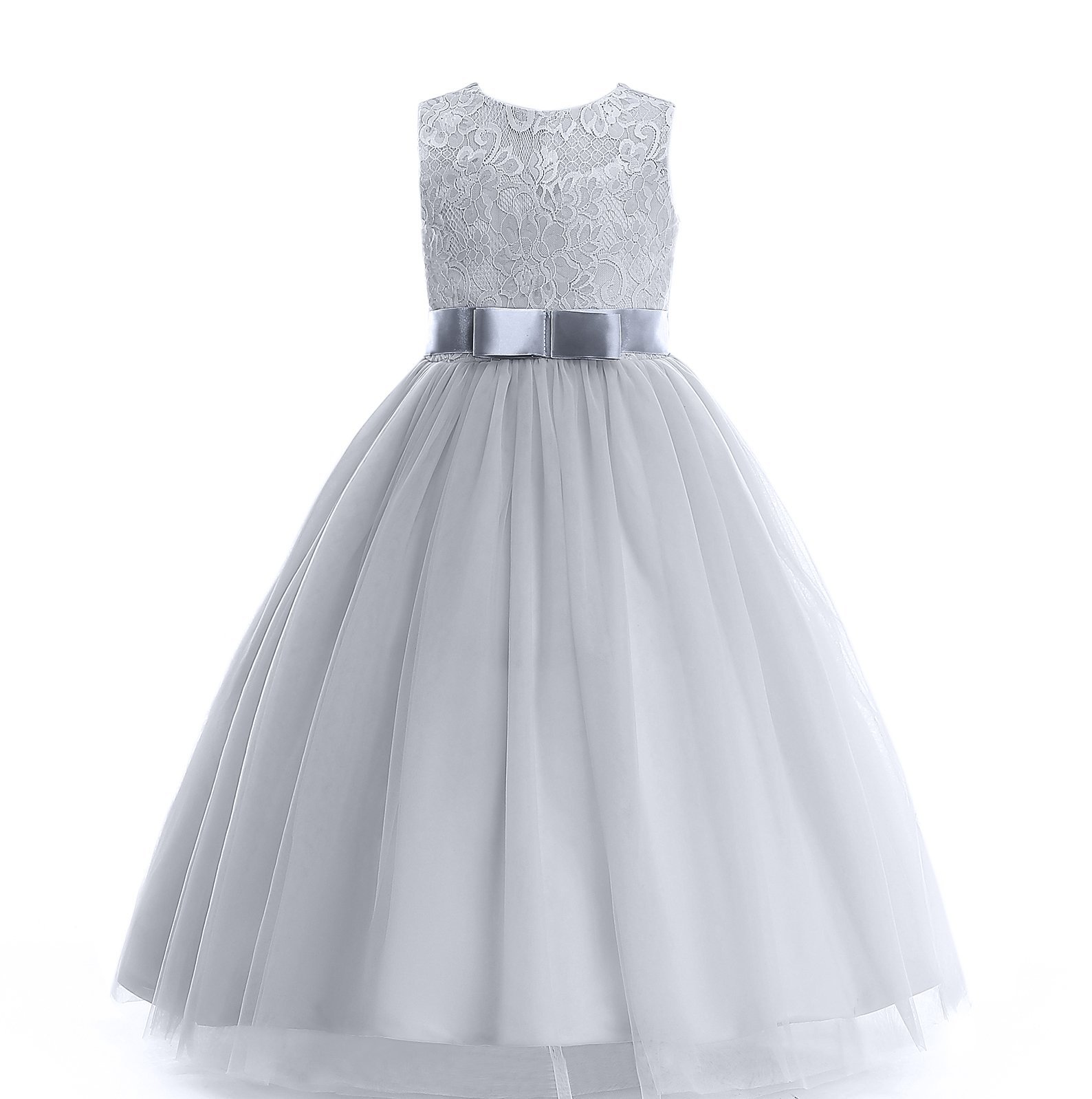 Glamulice Girl Lace Dress Long Party Wedding Dresses Mesh and Bow Age 3-16Y (9-10T, Gray)
