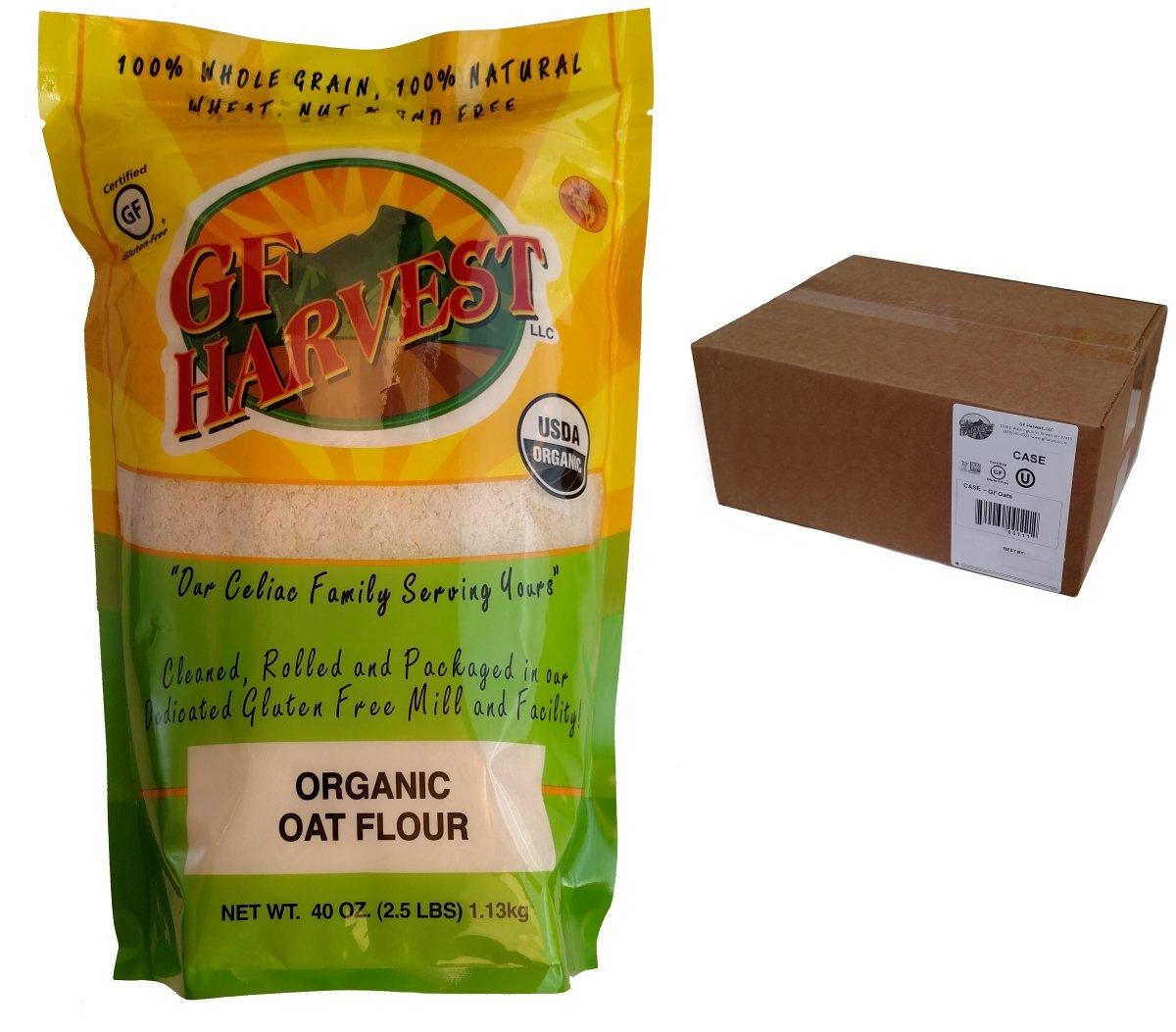 GF Harvest Organic Whole Grain Oat Flour, Gluten Free, (2.5 Pound Bag) (Pack of 6)