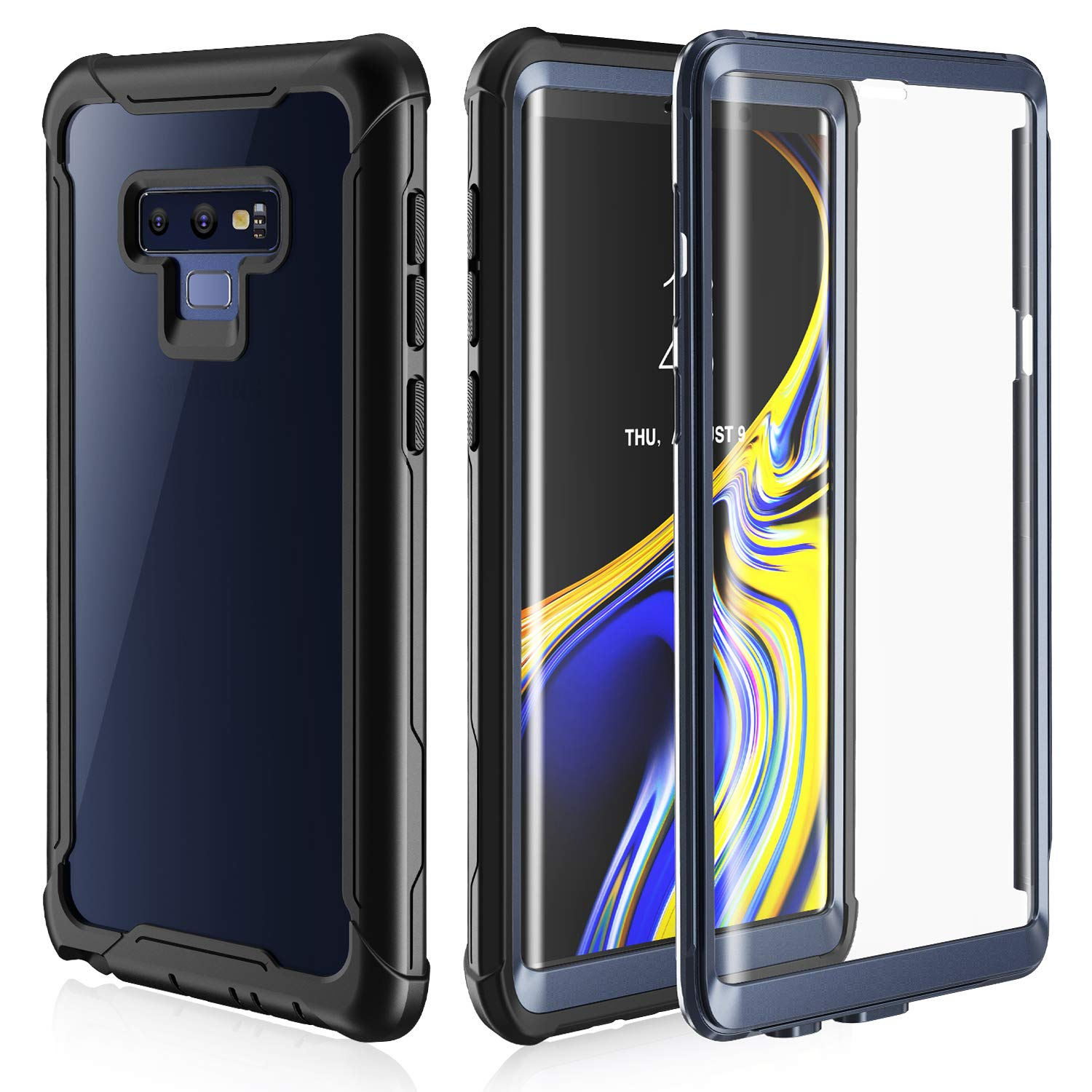 Samsung Galaxy Note 9 Cell Phone Case - Full Body Case with Built-in Touch Sensitive Anti-Scratch Screen Protector, Ultra Thin Clear Shock Drop Proof Impact Resist Extreme Durable Protective Cover FITFORT