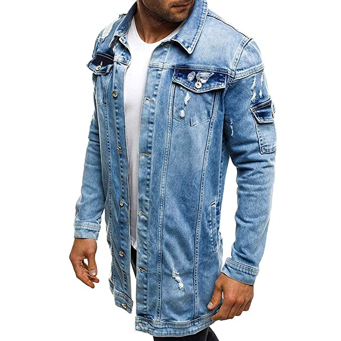 Gocheaper Mens Denim Jacket, Classic Autumn Winter Slim Fit ...