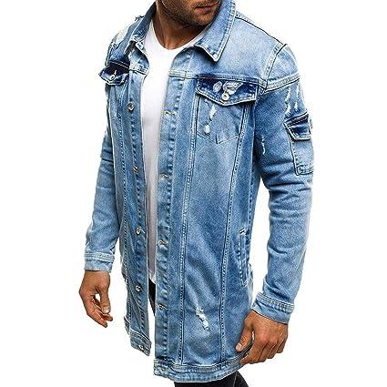 Yvelands Camisas para Hombre, Camisa de Manga Larga con Lavado de Mezclilla Lavada Vintage Hombre: Amazon.es: Ropa y accesorios