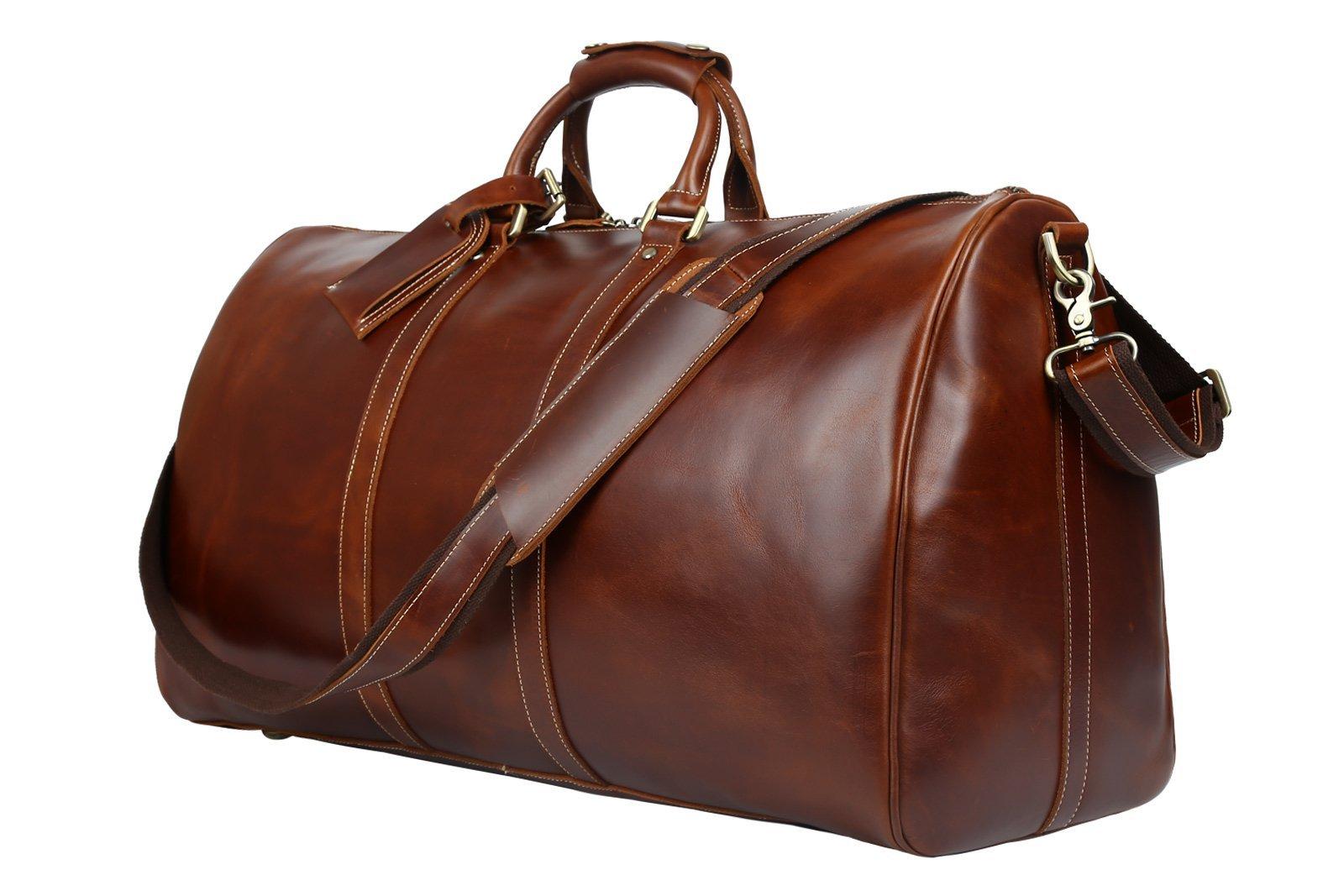 Huntvp Mens Leather Travel Duffel Bag Vintage Weekender Carry On Brown Luggage Bag