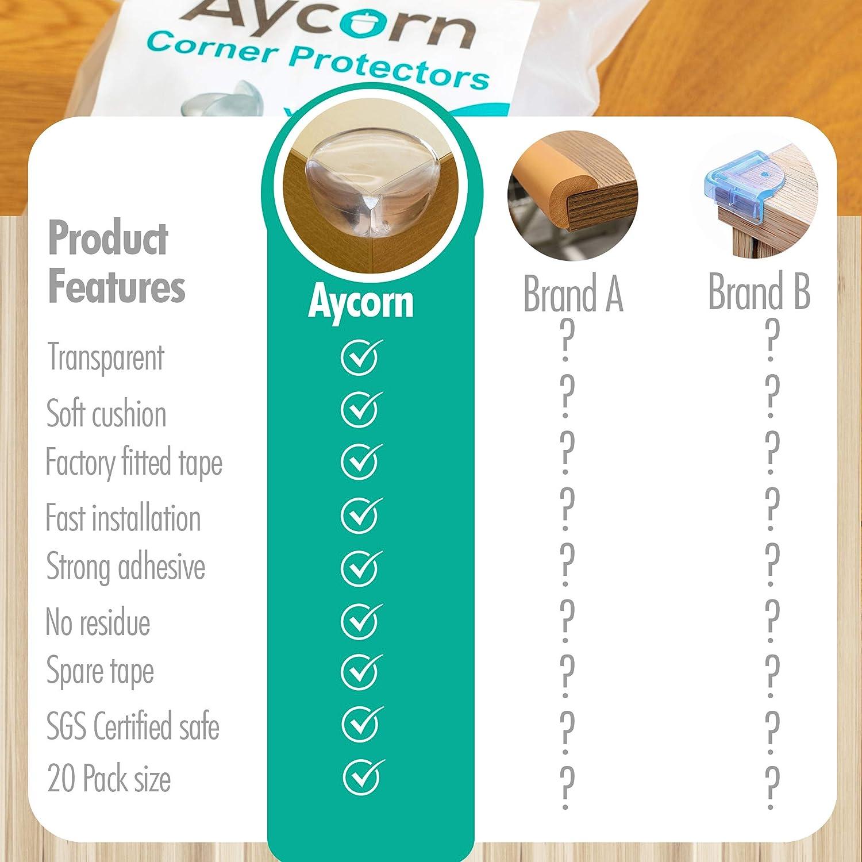 Aycorn Lot de 20 dispositifs de protection de coin,transparent doux et de qualit/é sup/érieure pour enfantsSinstalle en quelques secondes avec une colle extra forte