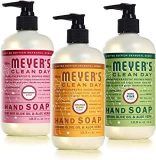product image for Mrs. Meyer's Clean Day Holiday Hand Soap Bundle (Peppermint, Iowa Pine, and Orange Clove) 12.5 Ounces each