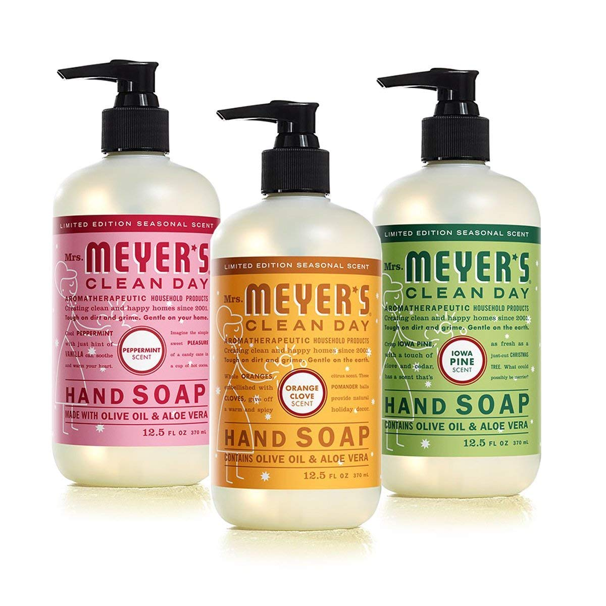 Mrs. Meyer's Clean Day Holiday Hand Soap Bundle (Peppermint, Iowa Pine, and Orange Clove) 12.5 Ounces each Mrs. Meyer' S