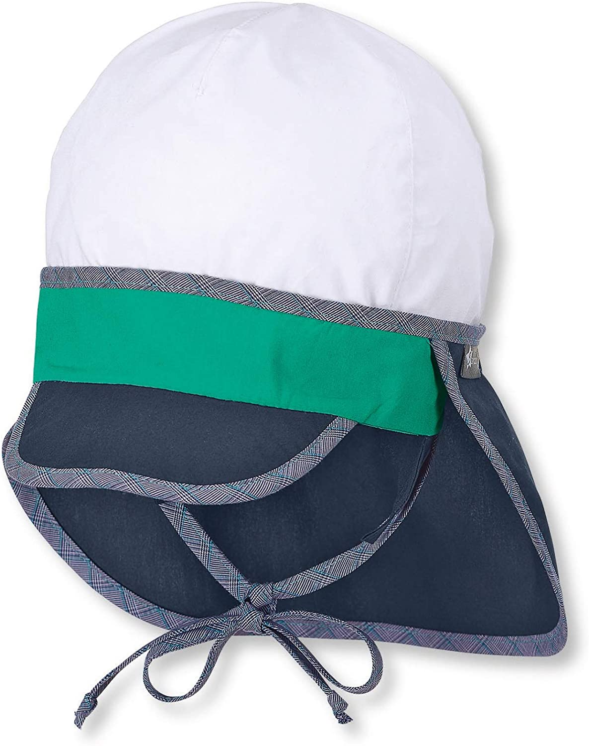 Sterntaler Peaked Neck-Guard Cap with Bow Strings Sky Blue