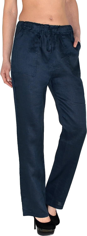 ESRA Femmes Pantalons de Lin Femmes Pantalons d/Ét/é Femmes Pantalons de Loisirs Pantalon de R/élax H108