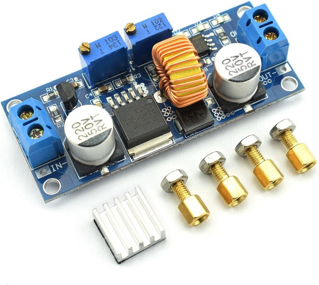 DZS Elec 5A 75W DC-DC Step-down Module Kit Constant Current Low Ripple Voltage Regulator 4-38v Input to 1.25-36v Output Adjustable Large Power Converter + Heat Sink + Brass Spacer + Nut