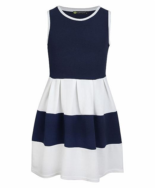LotMart - Vestido - para niña Rojo azul marino 11-12 Años