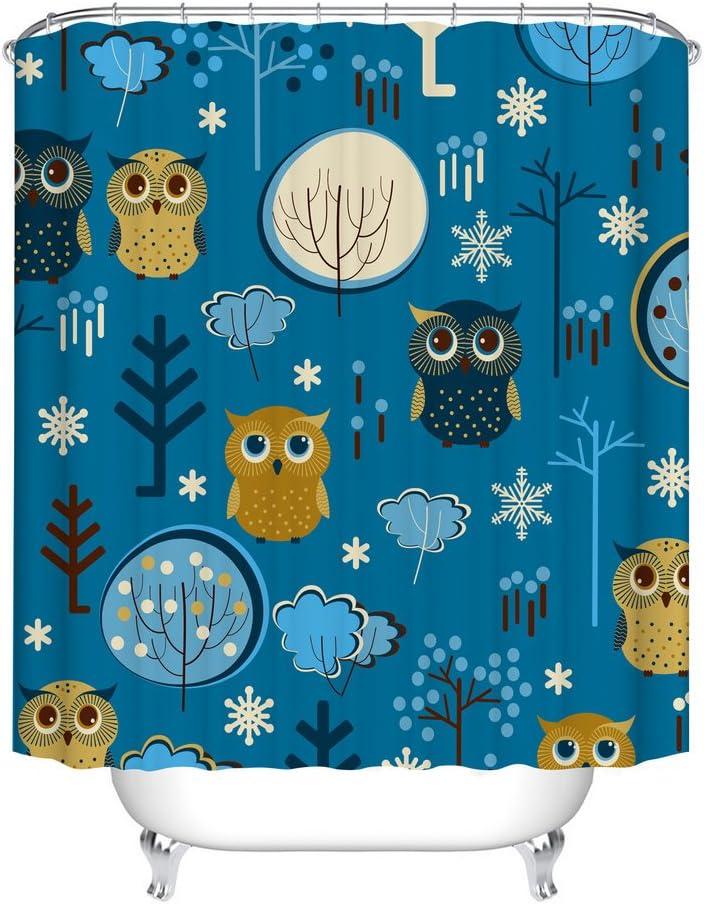 Fangkun Children's Cartoon Owl Design Shower Curtain Art Bathroom Decor Set - Polyester Fabric Waterproof Bath Curtains - 12pcs Hooks - 72 x 72 inches