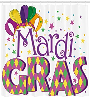 Ambesonne Mardi Gras Shower Curtain Joyous Composition With Stylized Lettering Stars Confetti And Party Hat