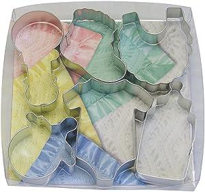 R&M International Baby Shower and Party Cookie Cutters, Bodysuit, Bottle, Pacifier, Bootie, Bib, Rattle, 6-Piece Set