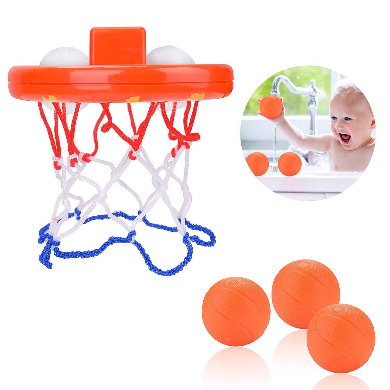Rmeet Cerceau de Basket-Ball de Bain,Jeu Jouets de Bain Panier de Basket et Balles pour Enfants B/éb/é Gar/çon Filles 3 Balles