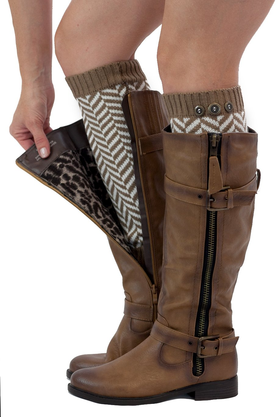 Chevron Leg Warmers Womens Knit with 3 Buttons By Modern Boho (Brown)