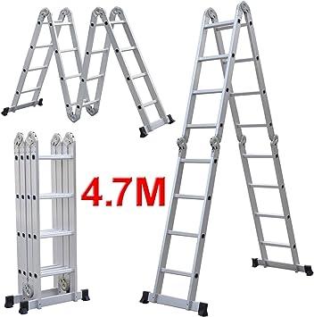 Chinkyboo 6-in-1 Alu escalera multiusos escalera de articulación de escalera de 4,75 M: Amazon.es: Bricolaje y herramientas