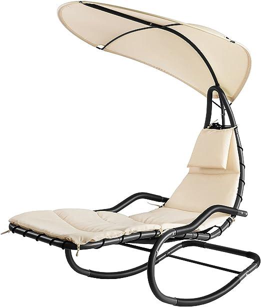 SoBuy®Mecedora Regulable con Cojines, sillón balancín jardín, Hamaca con Toldo para Dar Sombra, OGS33-MI, ES: Amazon.es: Jardín