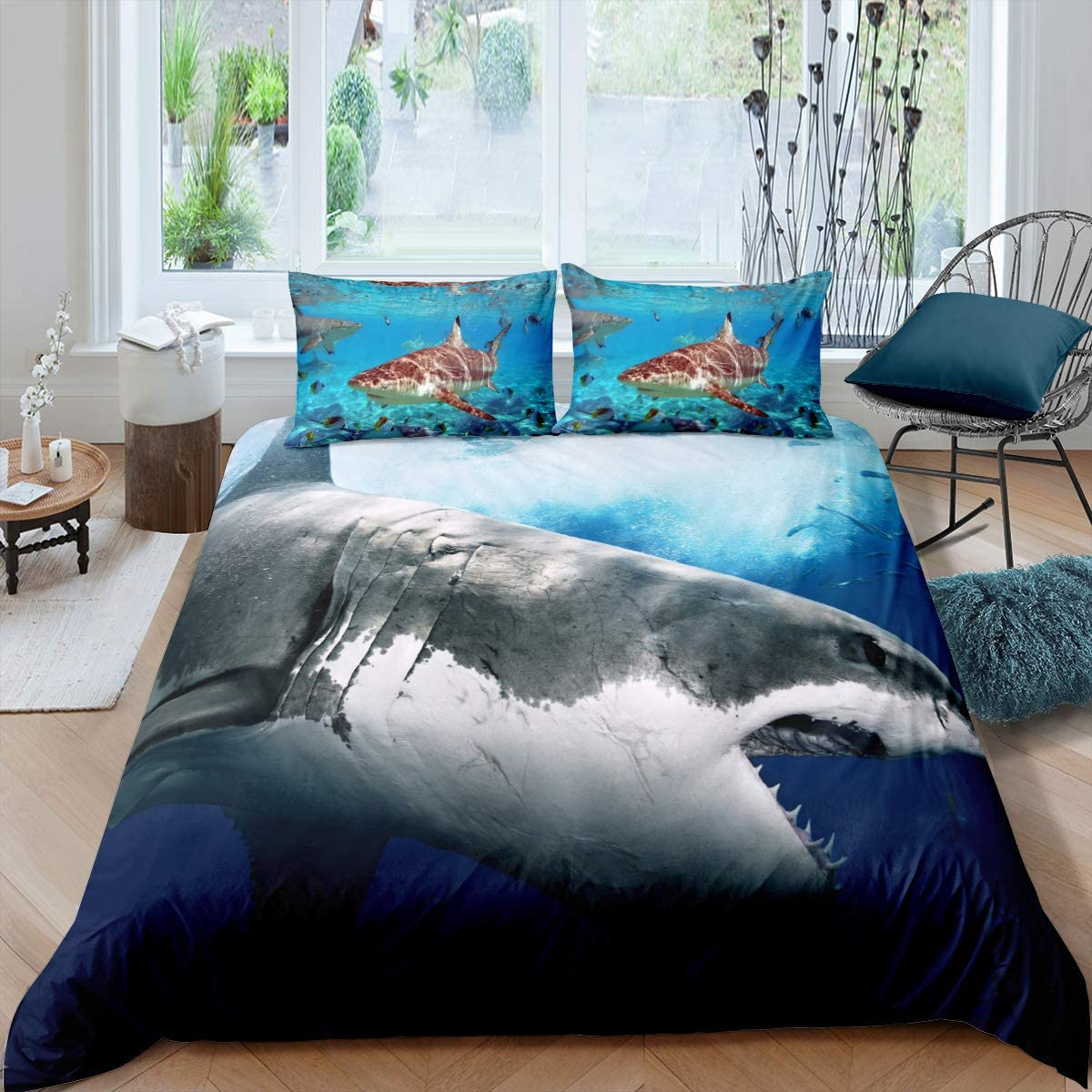 3d Shark Fish Bedding Duvet Cover Full 3 Piece Hawaiian Beach Theme Bedding Set Underwater Children Bedspread Cover Ocean Sea Themed Pattern Printed On Blue Comforter Cover For Kid Boy Girls